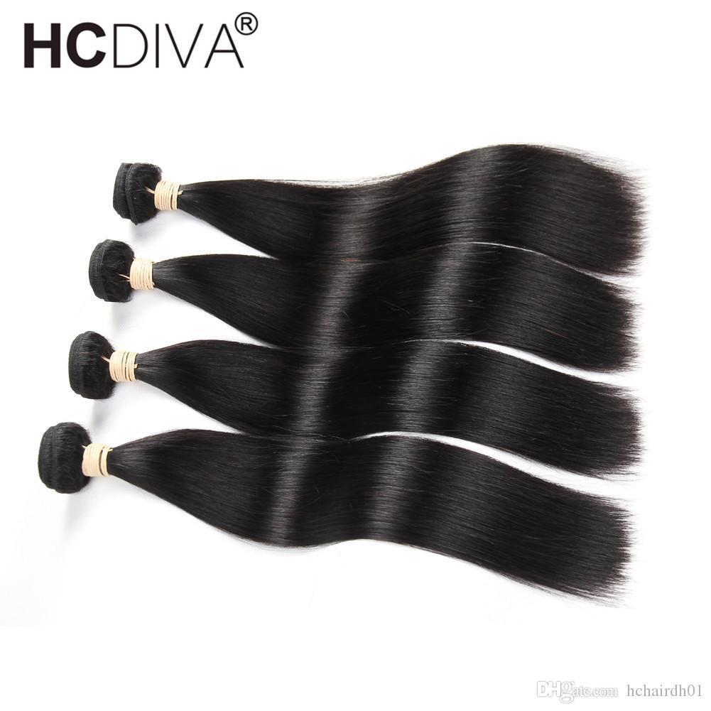 HCDIVA 4 Bundle Deal peruviana diritta di estensioni dei capelli 10-32 pollici non capelli umani di Remy Bundles peruviano tessuto dei capelli Bundles
