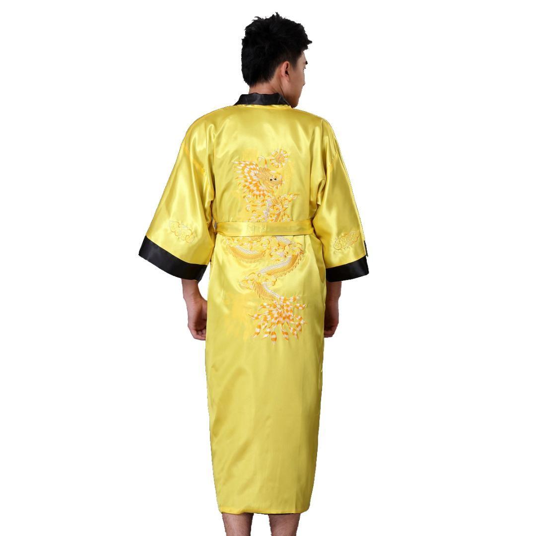 Mens Embroidery Robe Kimono Gown Nightgown Satin Sleepwear Bathrobe S Xxxl Black Sleep Lounge Robes