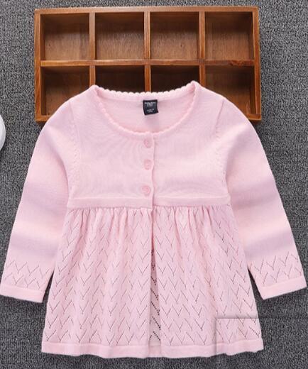 Primavera ed autunno adattano il colore puro casuale lavorato a maglia Pullover Maglioni per i bambini maglione di cotone lavorato a maglia Cardigan Top Girls
