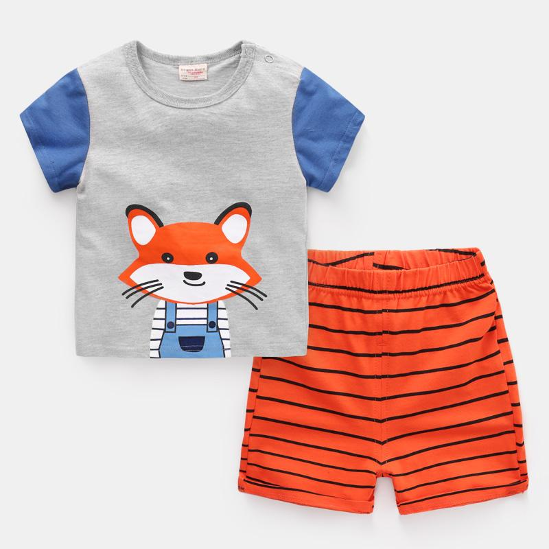 Marca Designer Desenhos animados do bebê Boat Boy roupas de verão T-shirt + short Baby Girl Sets Roupa descontraída