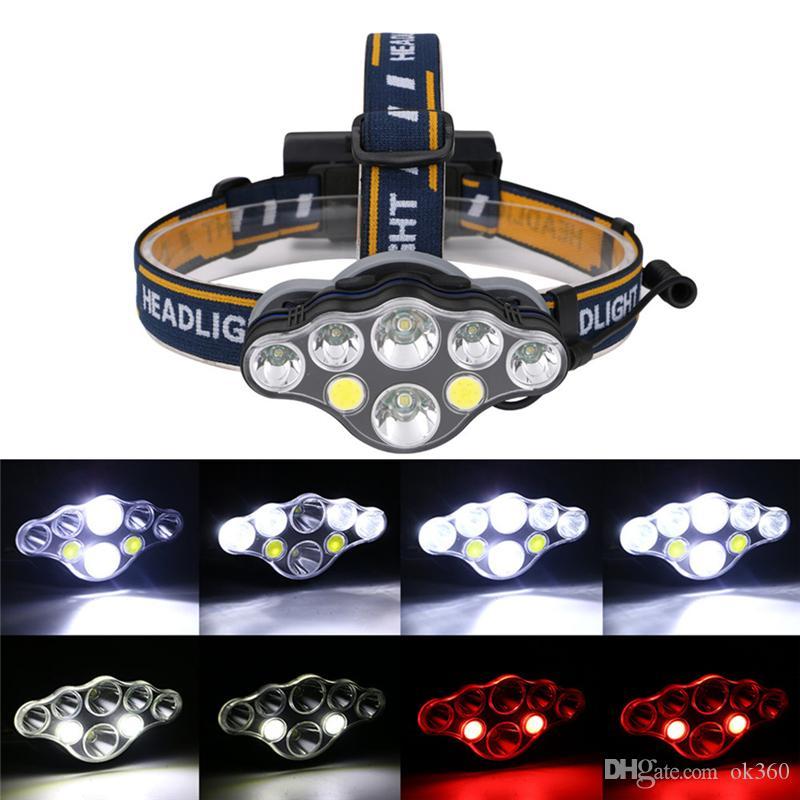 40000LM Farol T6 + COB LED vermelho Head Lamp USB Rechargeabl Head Light 8 Modos Lanterna Iluminação Lanterna Tocha para Camping