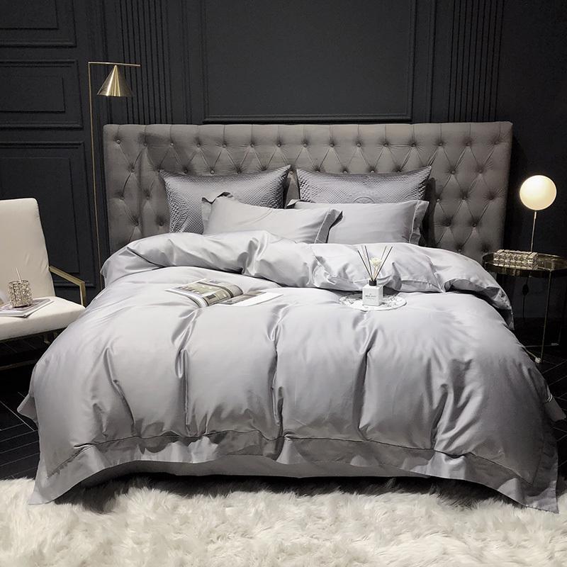 1000TC Egyptian Cotton SilverSolid DuvetCover//Sheet Set//Flat//Fitted//Pillow Queen