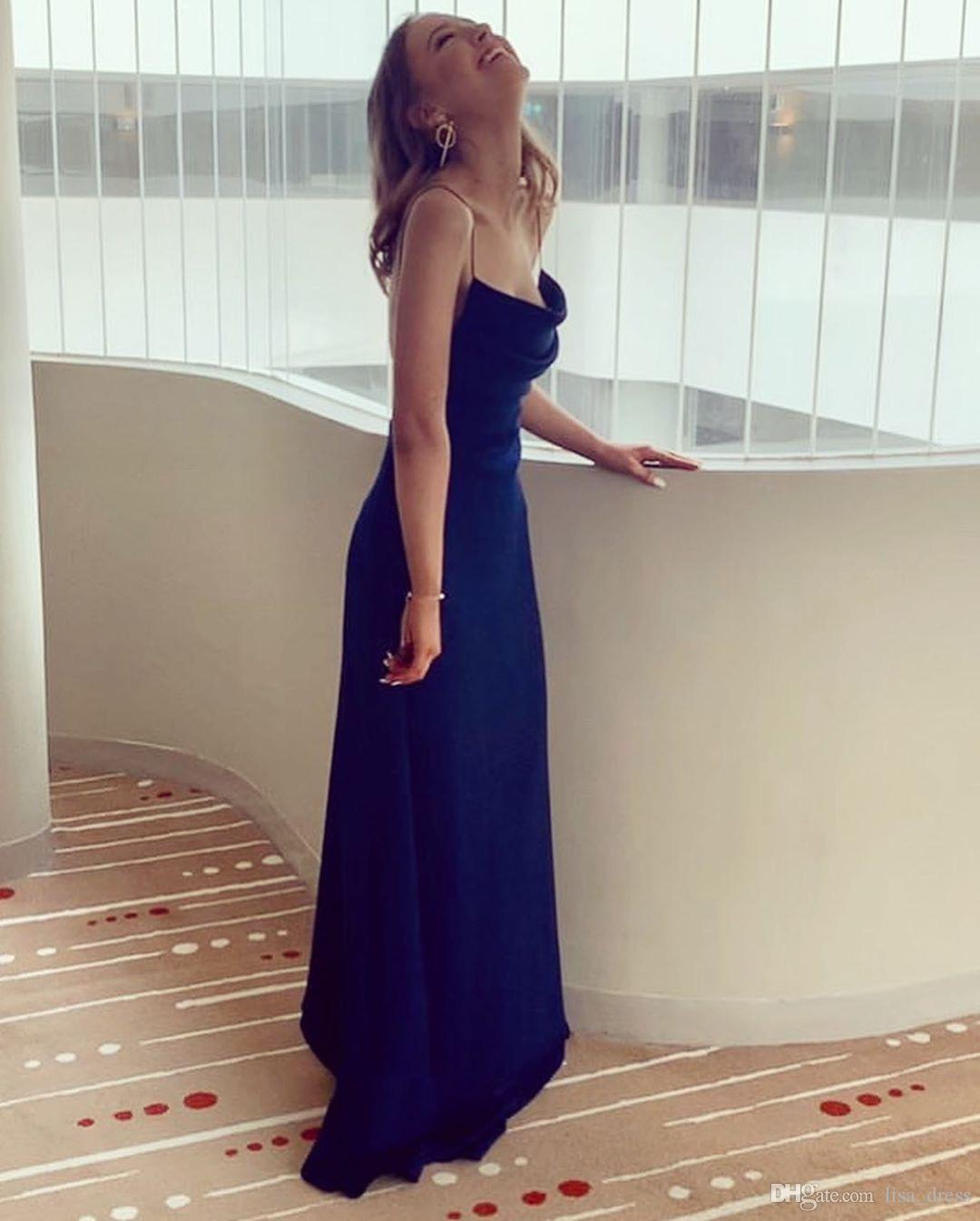 Women's Sexy backless Blue Spaghetti Strap Satin Prom Dress Long A Line Formal Gowns cocktail evening dresses gown bridesmaid party dresses