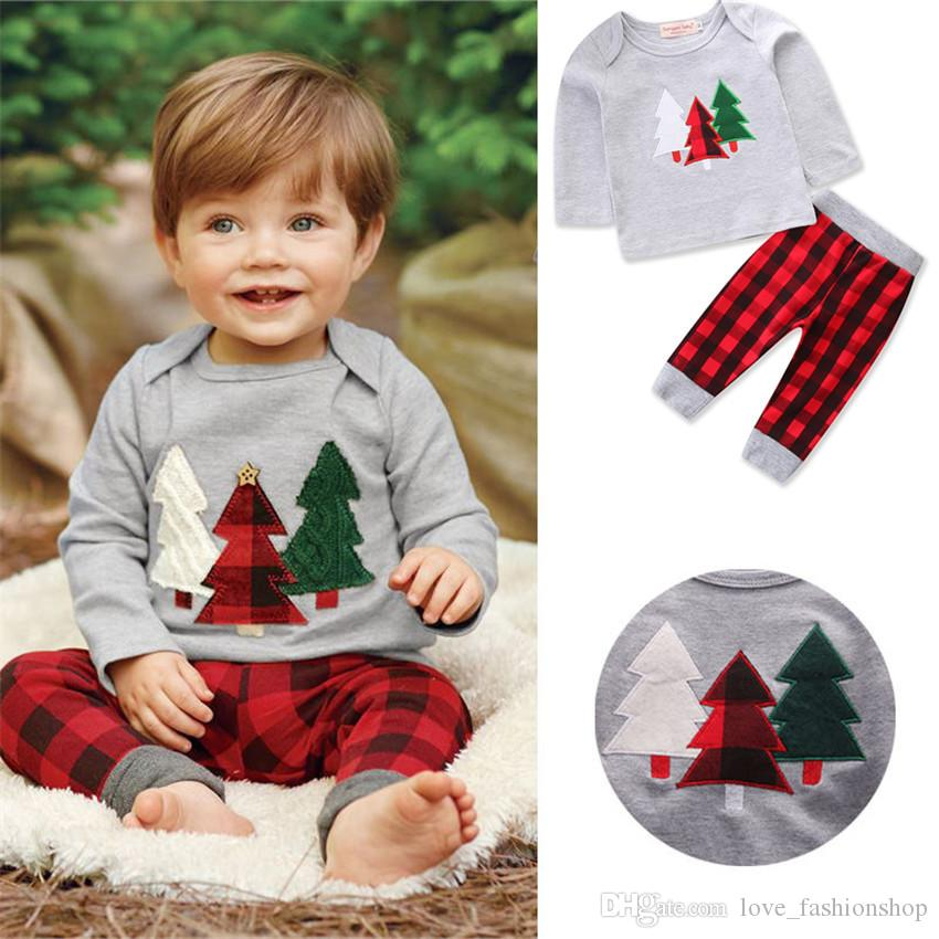 Retail kids designer clothes boys Halloween Christmas 2pcs suit Christmas tree tees+plaid pant Clothing Sets baby tracksuit boutique Clothes