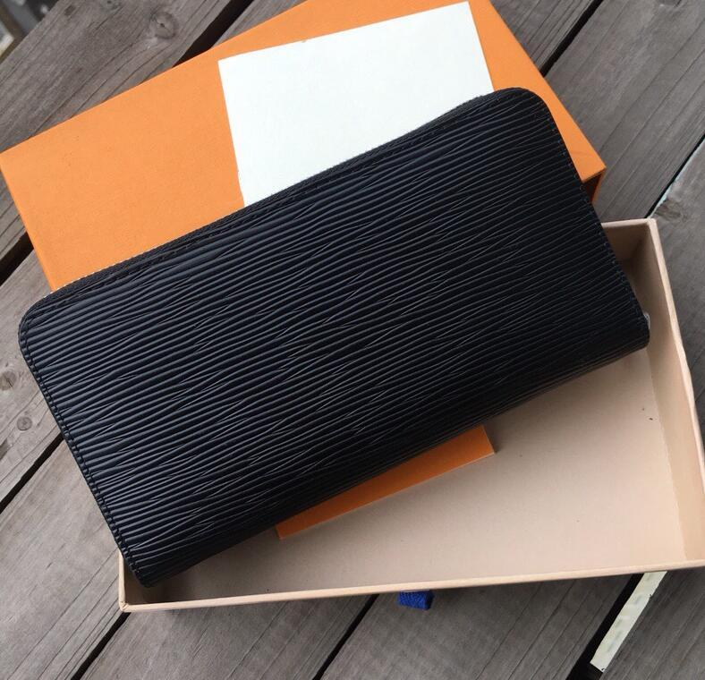 Diseñador unisex de negocios Monederos lujo de las mujeres del bolso de mano del hombre Monedero formal clásico de la manera Negro monedero alta calidad Llanura Monedero # 4
