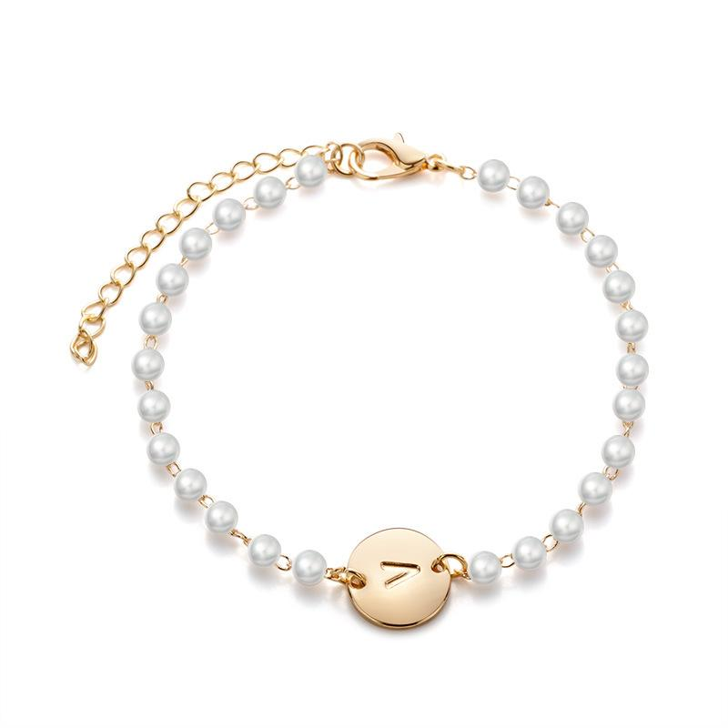 Personalized Gold Initial Bracelet A-Z Letter Carved Coin Tag Charm Bracelet for Women Girls Pearl Bead Bracelets Jewelry