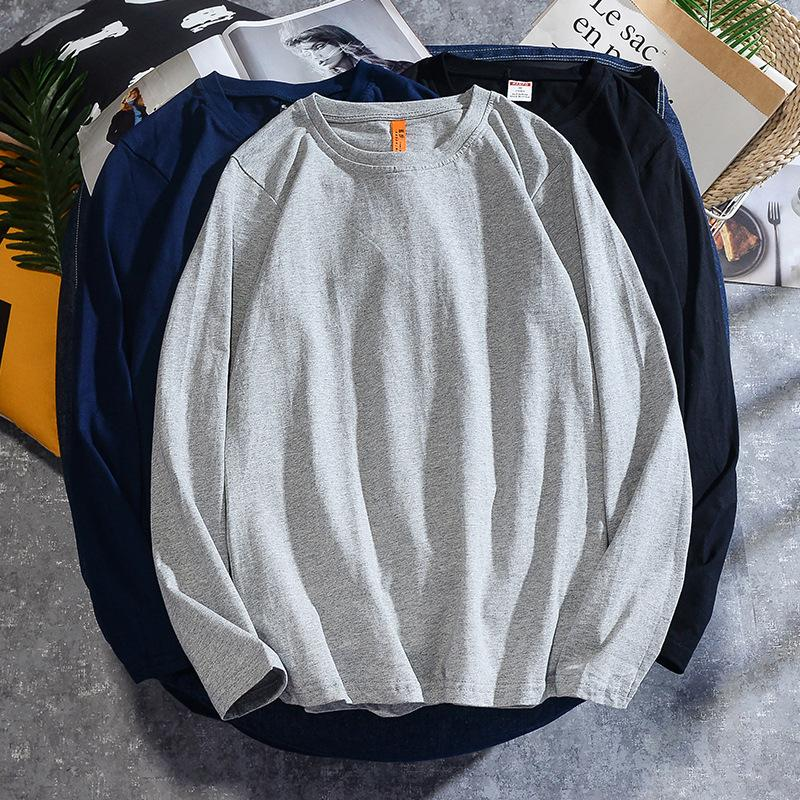 Men's T-Shirts 2021 Products Important Pure Cotton Long-sleeved Upper Garment Spring And Autumn Solid Color Base Shirt Simple Base-Long-sle