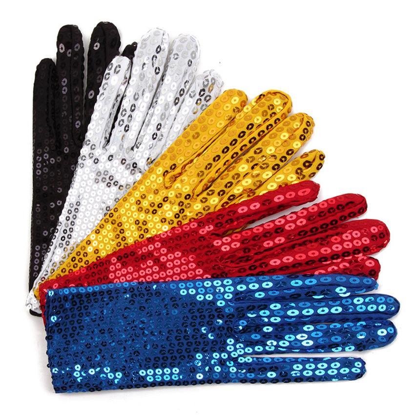 Guanti Festival Sparkle Sequin da polso per i guanti femminili di poliestere nuovo e di alta qualità del marchio Dance Party Event Bambini Unisex