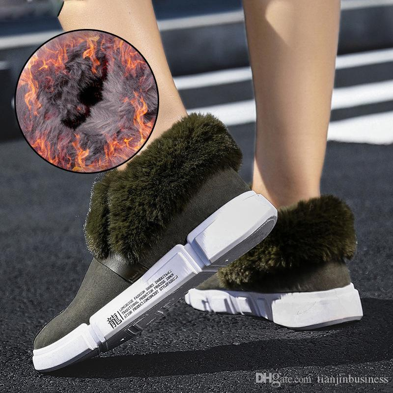 Kar Boots Kadınlar Kış Kürk Ayakkabı Sneakers Kış Peluş Bilek Boots Kadınlar Casaul Kış Ayakkabı Slip On