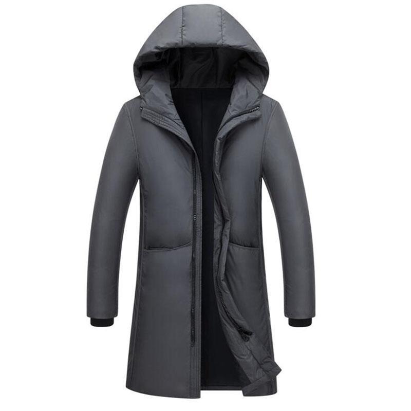 Erkekler Aşağı Parkas Beyaz Ördek Uzun Ceketler Erkekler Kış Su Geçirmez Rüzgar Geçirmez Kapüşonlu Ceket Erkek Yüksek Kalite Kalınlaşmak Mont