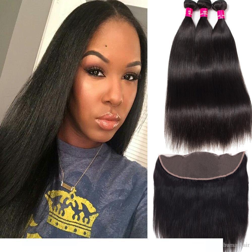 H 8a перуанские Малазийские монгольской Бразильский Девы волос 3 Связки С 13x4 уха до уха Кружева Фронтальная Закрытие 100% отложенной человеческих волос