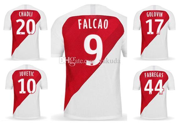 مخصص 19-20 موناكو التايلاندية الجودة لكرة القدم الفانيلة متجر على الانترنت للبيع فالكاو 9 17 10 جولوفان يوفيتش 44 FABREGAS 8 Tielemans كرة القدم ارتداء