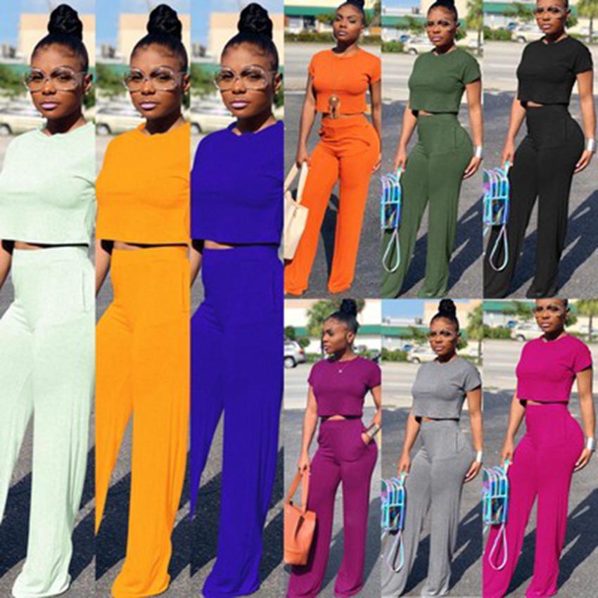 2020 유럽 단색 섹시한 허리 라운드 넥 반소매 포켓 두 조각, 퍼플, 오렌지, 어두운 회색, 지원 혼합 배치
