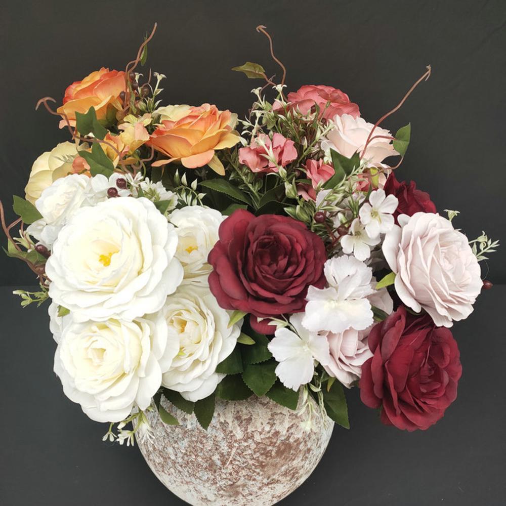 50 centímetros Pink Rose Bouquet Silk Peony Flowers Artificial 5 Chefes Big 4 Small Bud noiva do casamento Decoração Falso Flowers Faux