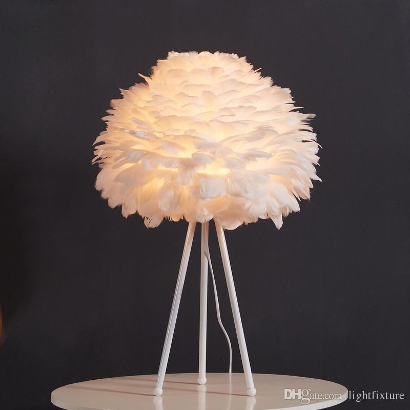 Candeeiro de mesa de penas brancas quarto moderno luz de cabeceira sala de estar estudo arte decoração candeeiro de mesa