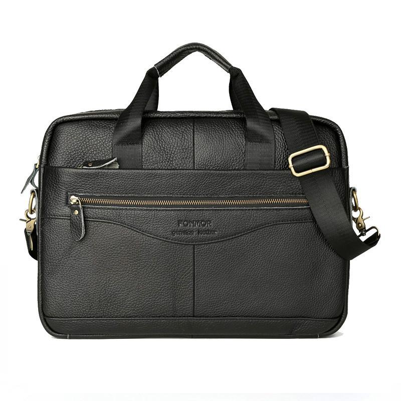 Men Leather Briefcase Laptop Bag Male Genuine Leather Bag Men Briefcase Handbags Multifunction Men's Travel Shoulder