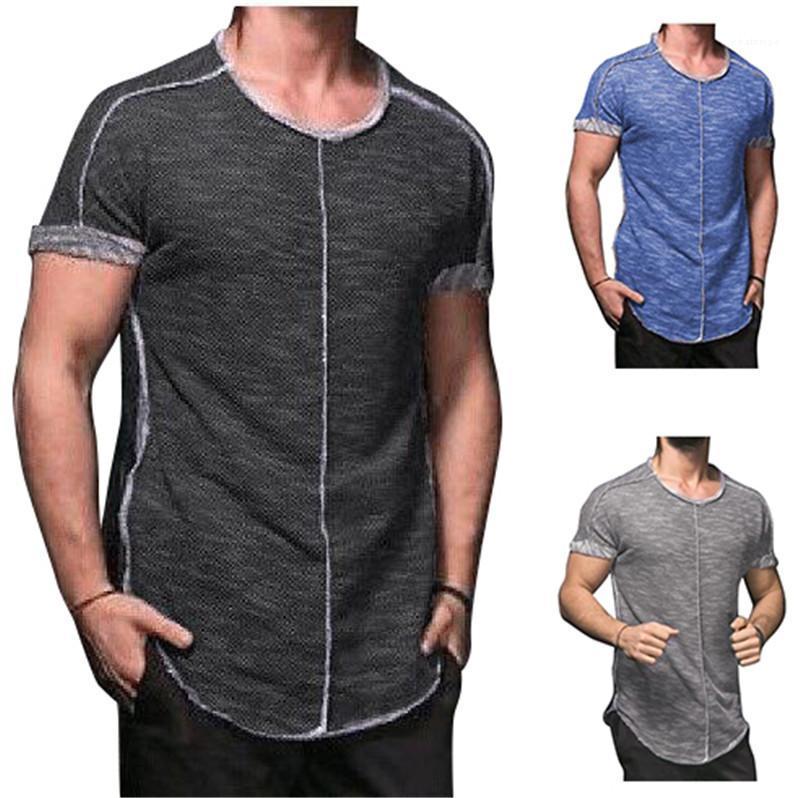 Tops Neck T Mens stile semplice di base solido casuale del Mens di colore magliette bicchierino di estate Crew manica