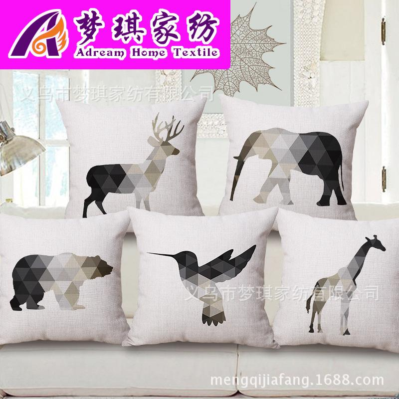 European Concise Milu Cotton Pillow Fashion Elefante Arredamento per la casa in fodere per cuscini Cuscino giraffa
