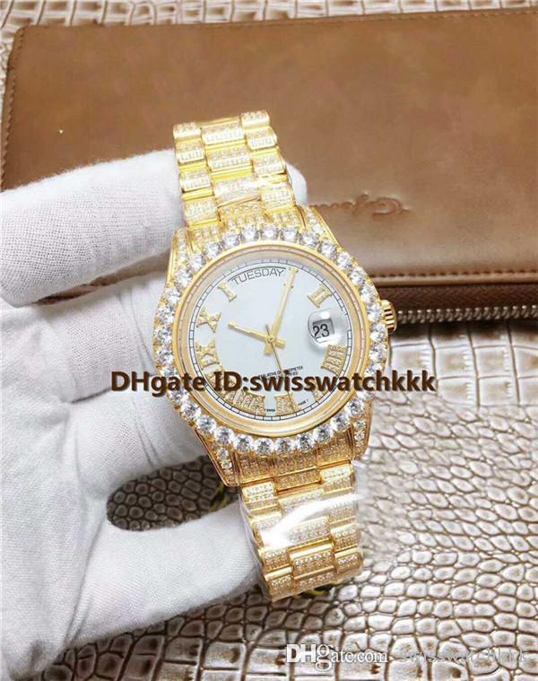 ZL Novo Relógios De Pulso Suíço ETA 2836 Automática de Safira Cristal Data de Exibição Completa de Diamante de Ouro 18 K Super luminosa Mens Watch 41mm