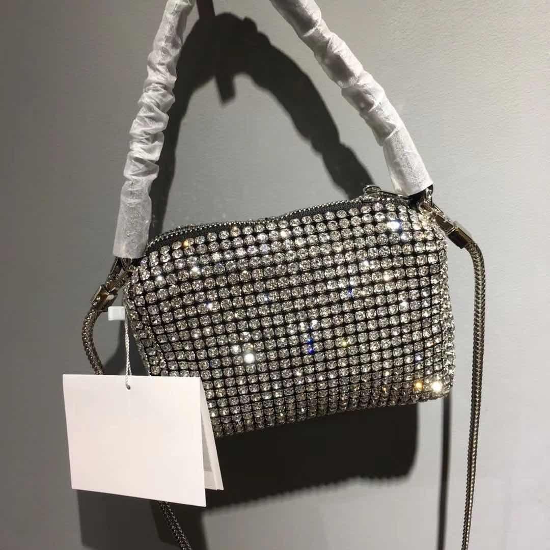 chaud! Mode pour dames sac à bandoulière sac à bandoulière décoration de diamant de mode sac à main tempérament noble véritable sac à main en cuir