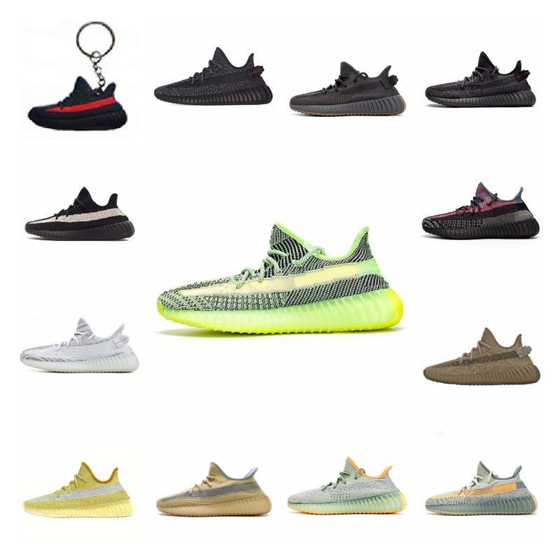 Kanye West estática de los zapatos corrientes de cola de Nueva Israfil Cinder Desert Sage Tierra para mujer para hombre Zebra Light Entrenadores deportivos Traducido 13 Luxky J # 006645