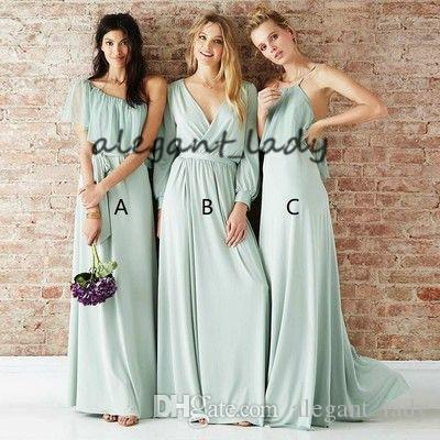 Mint Sage Long Chiffon Bridesmaid Dresses 2019 Mismatched Flowy Skirt Junior Girls Woodland Countryside Wedding Party Guest Gown