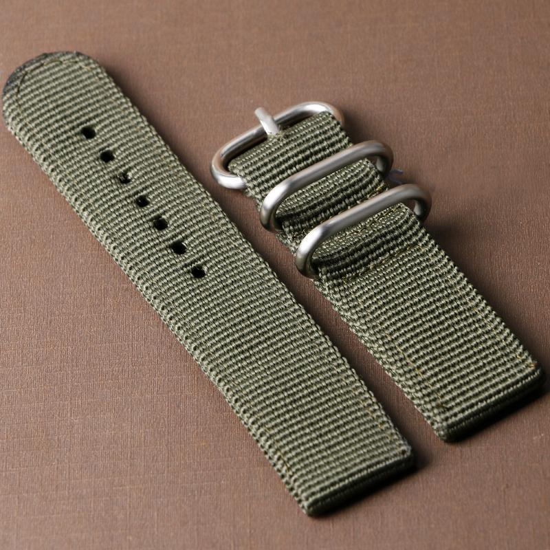 Wholesale- Cool Green Canvas Wrist Watch Strap Band 20/22mm for Men Women Watches Bands Boy BD0135