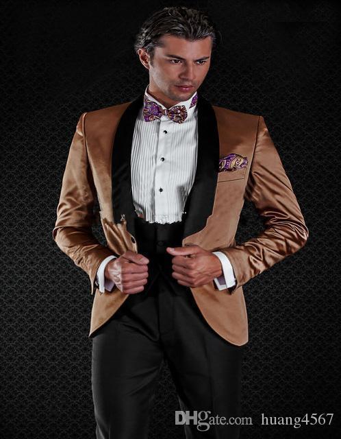 새로운 슬림 피트 버튼 하나 라이트 브라운 웨딩 신랑 턱시도 어깨 걸이 옷깃 Groomsmen 남성 복장 댄스 파티 재킷 (자켓 + 바지 + 조끼 + 넥타이) 186