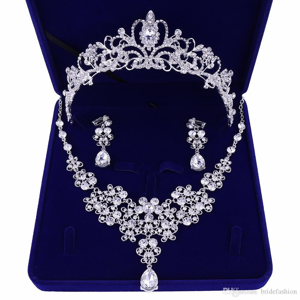 Алмаз Свадебные Вороны Свадебные Аксессуары Невесты Ювелирные Аксессуары Свадебные Аксессуары Набор С Коробкой (Корона + Ожерелье + Серьги)