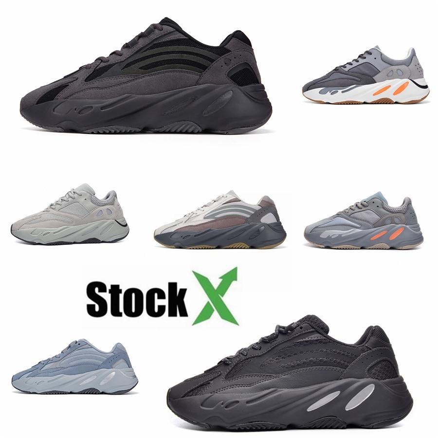 New Wave Runner 700 V2 Vanta Analog estática Inércia Cinza contínuo malva Mulheres Kanye West Running Shoes Mens Formadores Sports Sneaker tamanho 3 # QA674