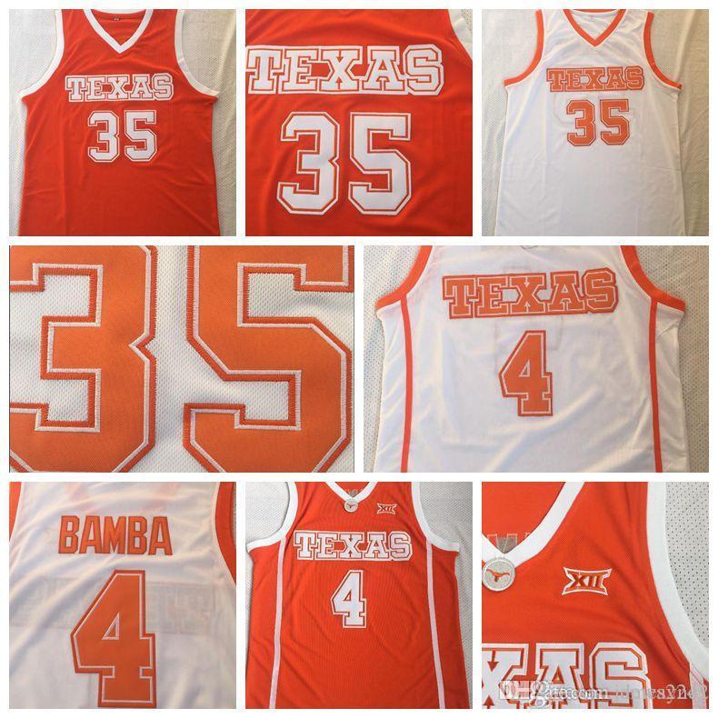 Mens Texas Longhorns # 4 Mohamed Bamba Mo 35 Durant Texas College maglia arancione bianco pullover di pallacanestro ha cucito