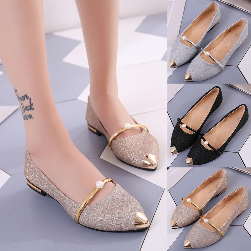 Heißer Verkauf- Schuhe Frauen Frühjahr 2020 neue Perle flach Mund schicke einzelne Schuhe, flache Schuhe koreanische Version