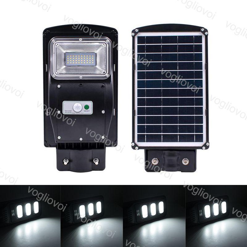 Luzes de segurança solares sensor de movimento UL rua luz 30 w ip67 impermeável abs preto com pólo controlador para jardim parque estrada estrada dhl