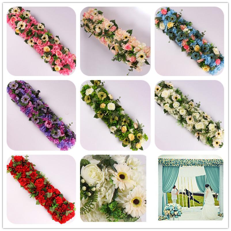 6PCS 100x25cm 결혼식 아치 꽃 행과 배경 홈 파트 테이블 장식 꽃 행 도매 인공 꽃 벽 높은 품질