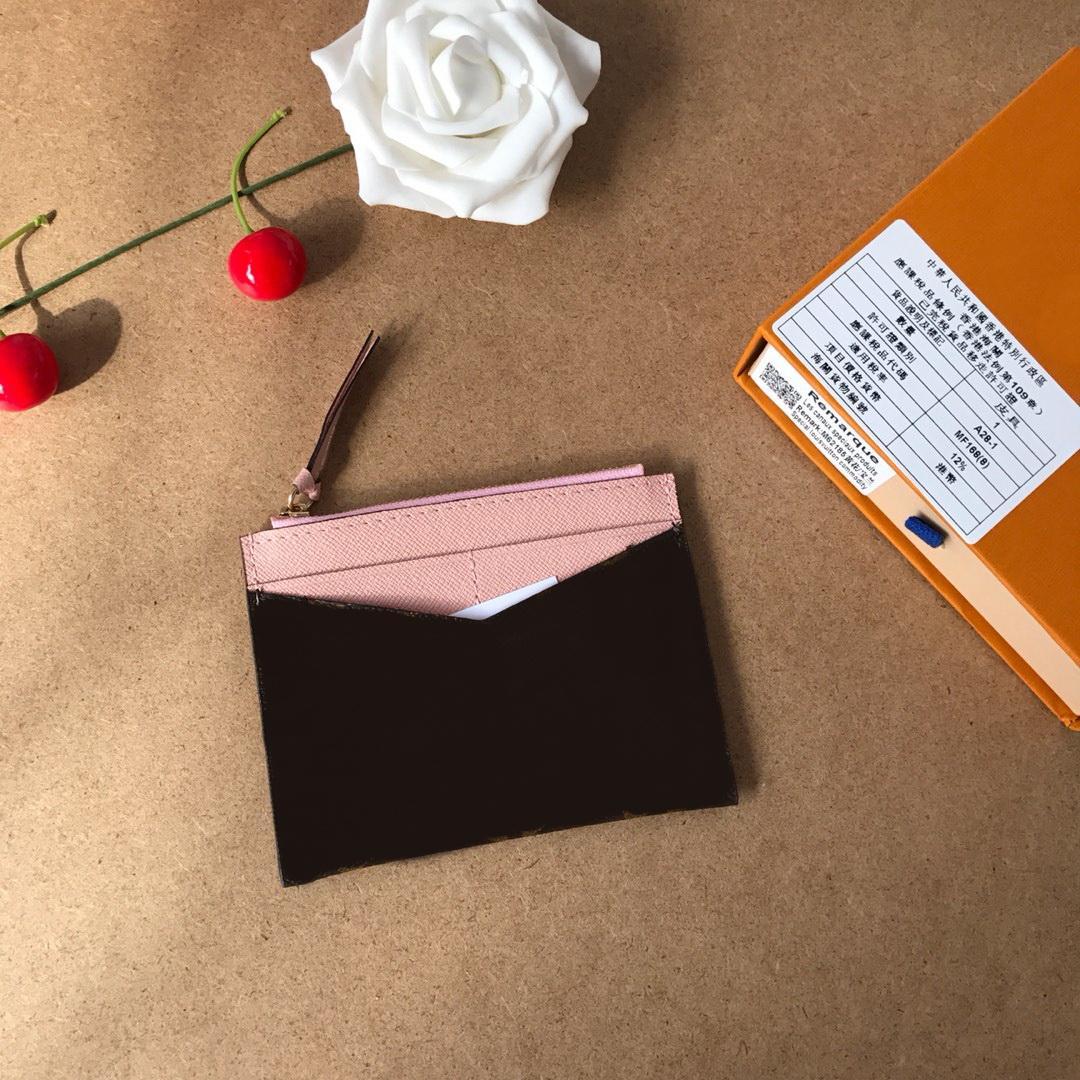 Cuero genuino monedero de la manera Bolsas titulares de la tarjeta nueva corto carpetas de las mujeres con la caja 60 tienen bolsas para polvo 62257