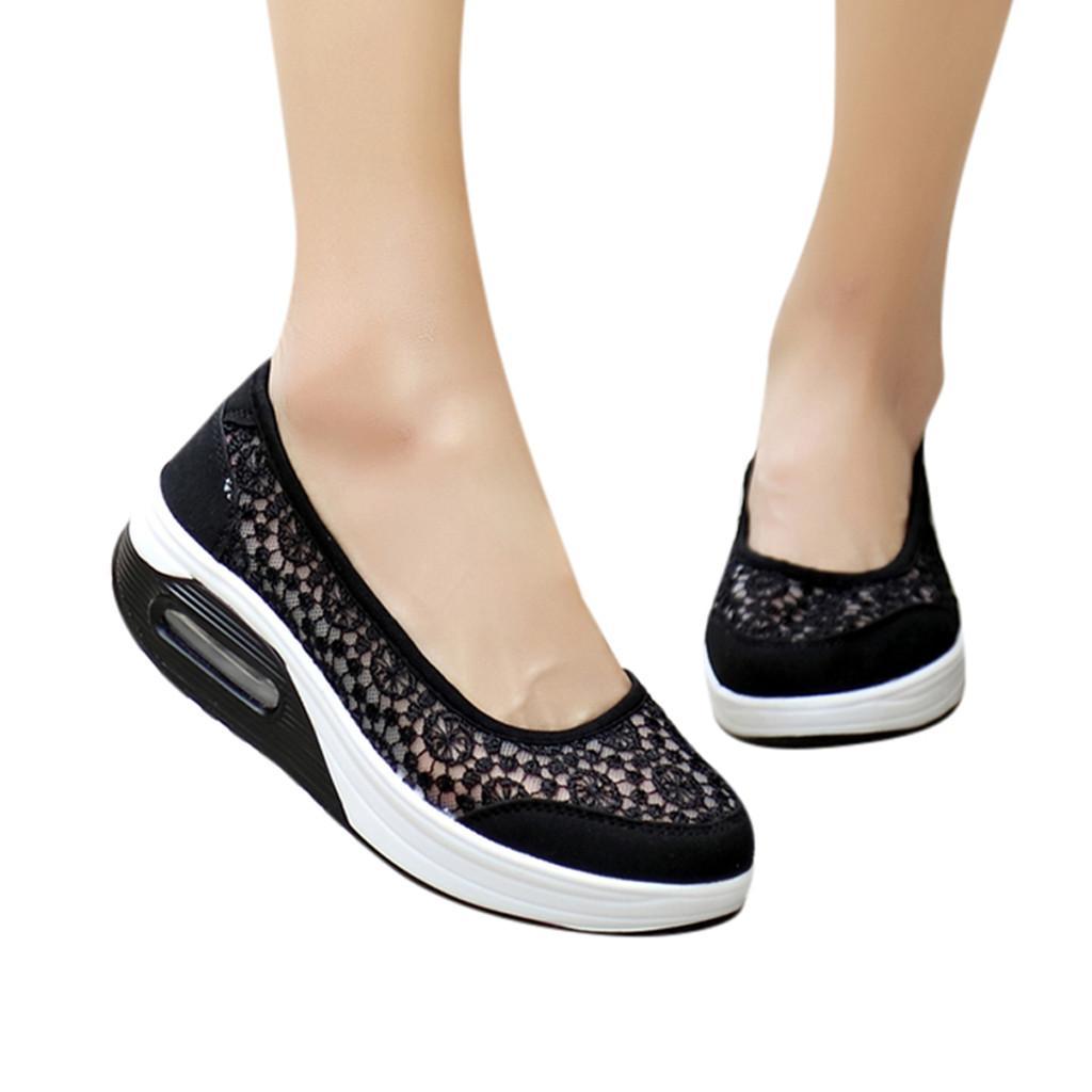 Dames de la mode dentelle creux respirant antidérapant chaussures à talons Med baskets motif floral Type Chaussures Shallow Casual 8 mai