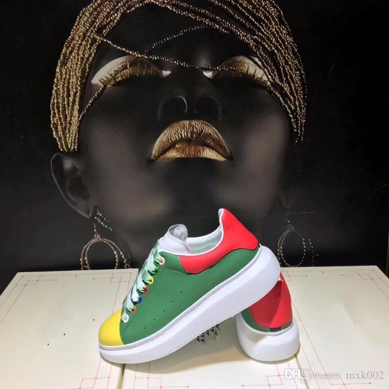 2019 de los hombres y las planas de los zapatos deportivos cordones de zapatos casuales de las mujeres clásicas de la marca Arena de cuero de los hombres altos zapatos de moda de lujo Mv02