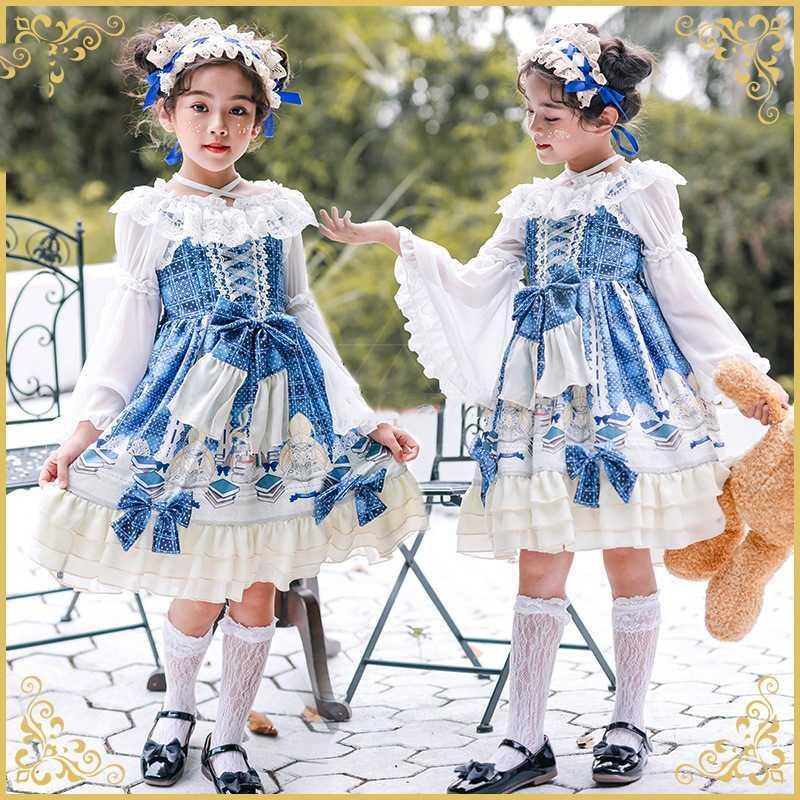 Bebés Meninas bonito Lolita Vestido formal Crianças Princesa Elf japonês Anime Cosplay Carnaval Crianças Partido Bow Saias Headband