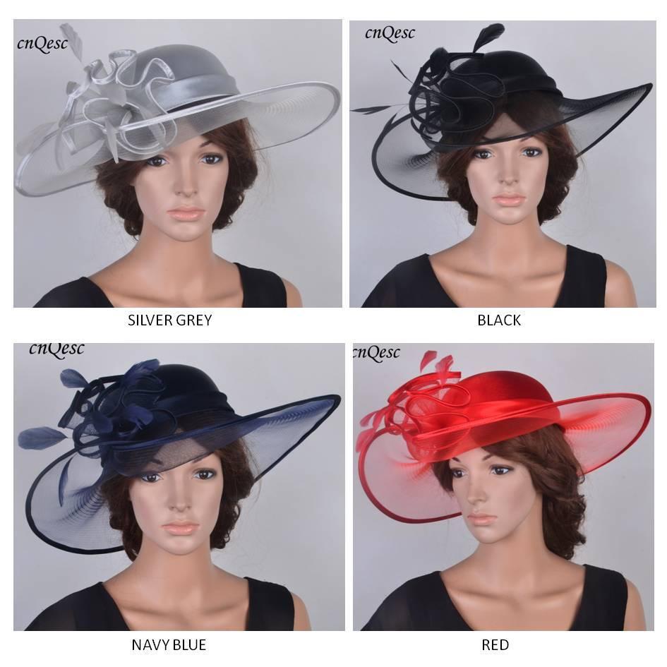 NUOVO DESIGN hatinator largo del bordo di raso cappello Kentucky Derby Crin cappello matrimonio fascinator con le piume per le gare, chiesa