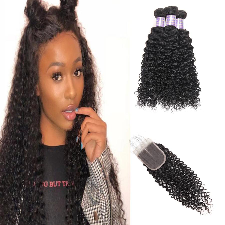 Indian Hair Kinky Curly Deep Loose Wave 3/4pc With Lace Closure Brazilian Yaki Straight Water Wave Malaysian Human Hair Bundles With Closure