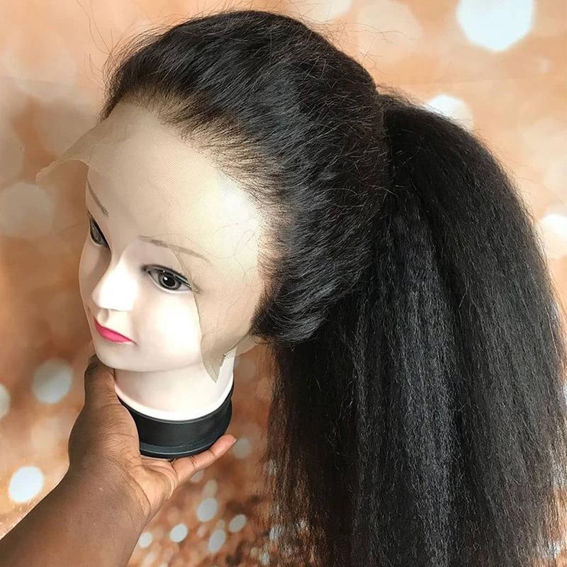 Droite 360 Lace Frontal perruque pré plumé avec bébé cheveux 13x6 Lace Front perruque italienne Yaki perruques de cheveux humains