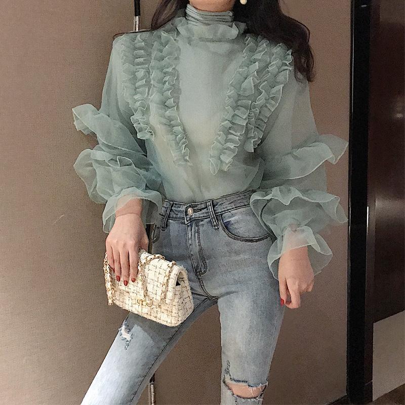 Ruffles Yüksek Yaka Vintage Bluz Gömlek Kadın Flare Uzun Kollu Zarif Kadın Bluz Rahat Yaz Şifon Blusas kadın 2019