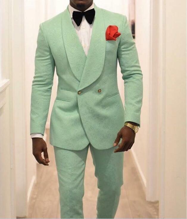 Mint Green Men smokings marié pour les costumes de mariage 2020 Shawl Lapel double breasted Deux Pièces (Pantalon Veste) Homme Blazer formel dernier style