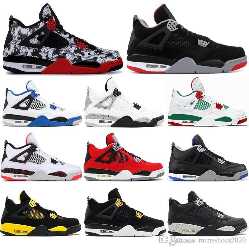 4  avec des chaussettes libres NOUVEAU AirJordanRétro luxe élevé 4 4s chaussures de basket-ball oreo tatoo sport chaussures frais tonnerre mens concepteur sneskers