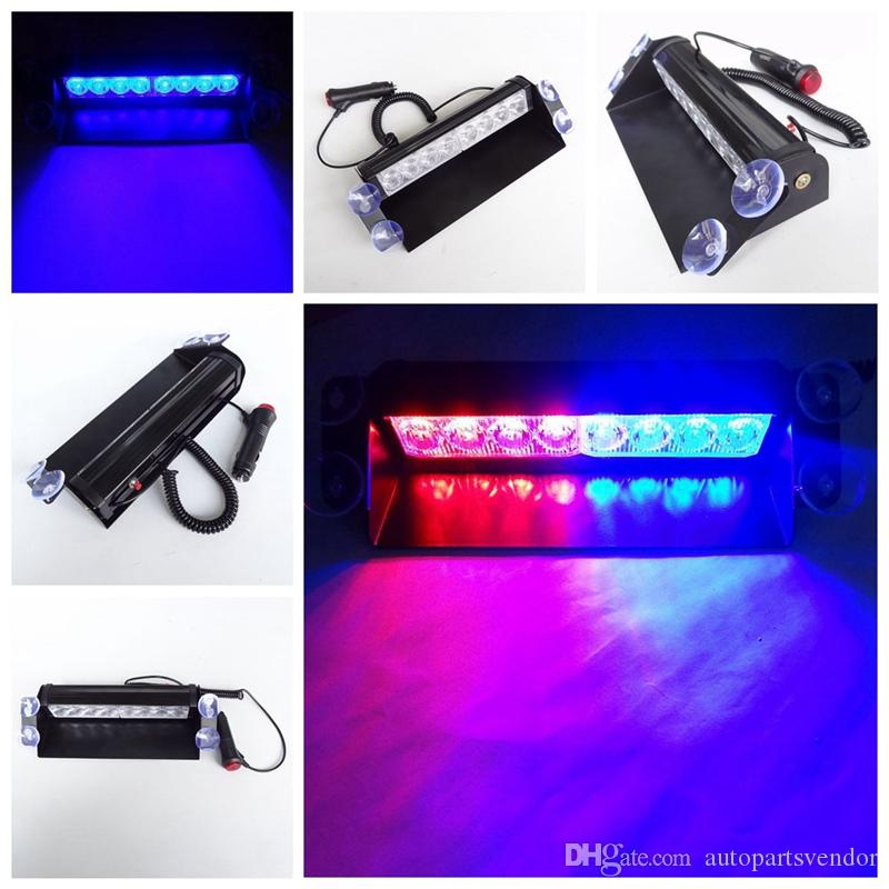 2X Blue Red Yellow 8 LED High Power Strobe Flash Warning EMS Police Car Light Flashing Firemen Fog Lights 8LED