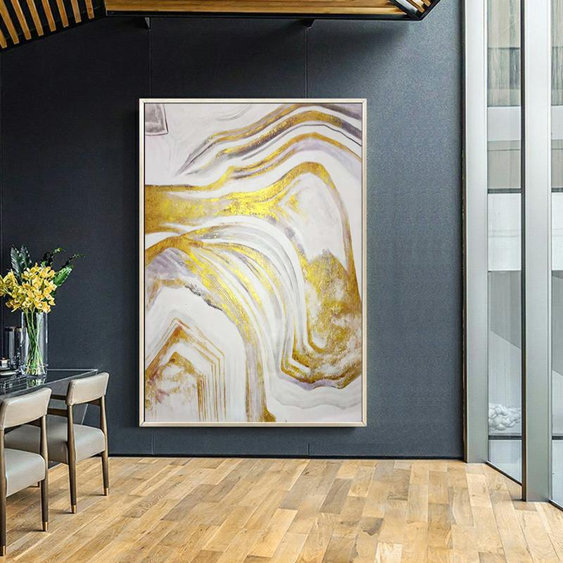 Пользователя заказать Золотой лист искусство украшения дома картины холст картины гостиной стены искусства абстрактные картины
