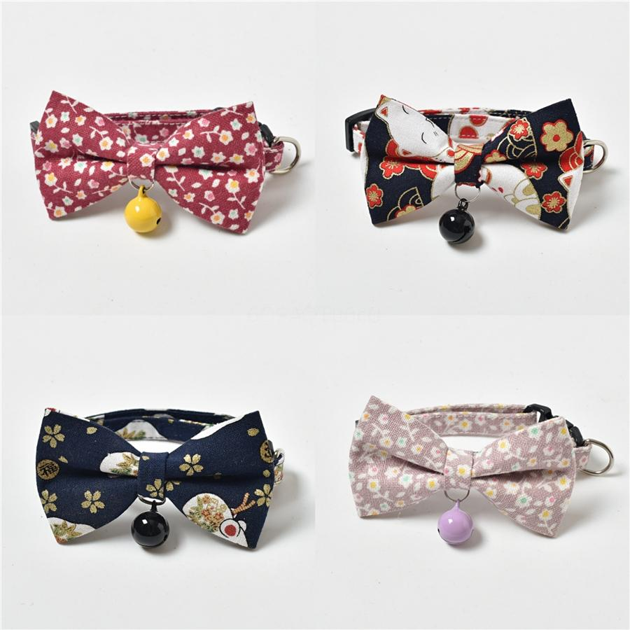 Japanese Style Cute Small Dog Pet Bowknot Collar Cloth Elastic Puppy Dog Cat Collars With Pendants Zc1803 #325