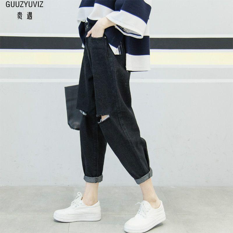 GUUZYUVIZ Casual Jeans Woman 2019 Spring High Waist Harem Jeans Women Plus Size Denim Mujer Cotton Vintage Pants Femme