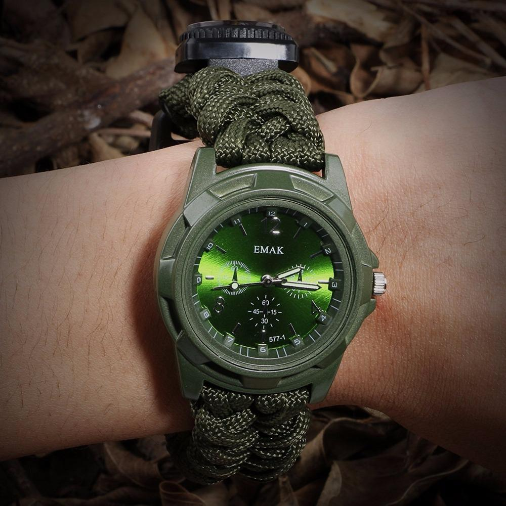 Outdoor camping survival tools Camping Medical Multi-functional Compass Thermometer Rescue Paracord Bracelet Equipment Tools kit (12)