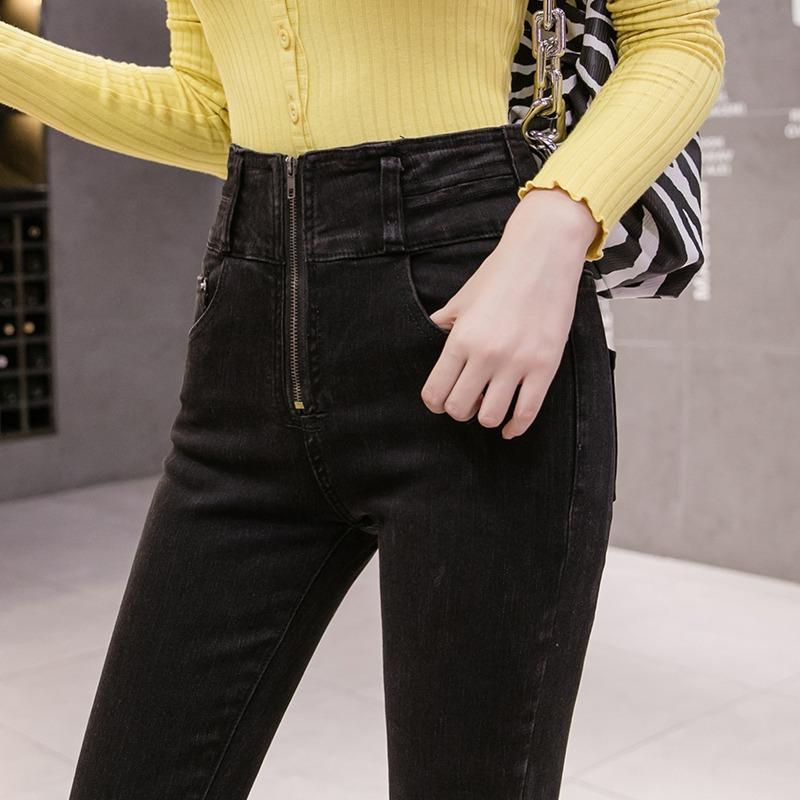 Style élégant taille haute Jeans Femmes 2020 Nouveau style coréen élastique Slim Minceur Noir Crayon Pantalons Pieds Pantalons Tide